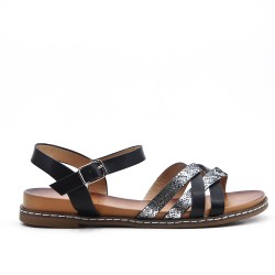 Sandalia de piel sintética negra