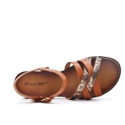 Camel faux leather sandal