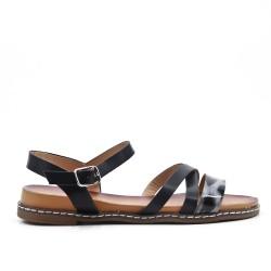 Sandale en simili cuir noir