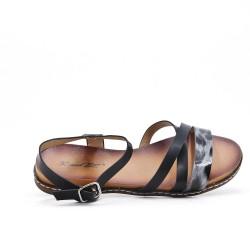 Black faux leather sandal