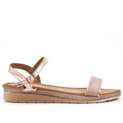 Champagne sequined buckle sandal