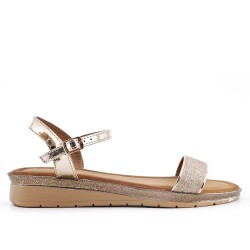 Golden sequined buckle sandal