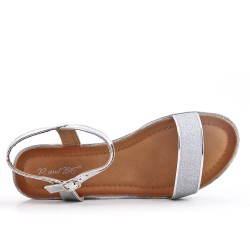 Silver sequined buckle sandal