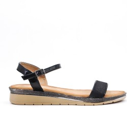 Black sequined buckle sandal