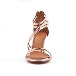 Black sandal with patent heel