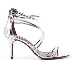 Silver sandal with patent heel