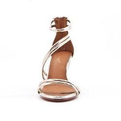Golden sandal with patent heel