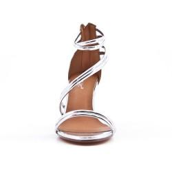 Sandale argent à talon en vernis