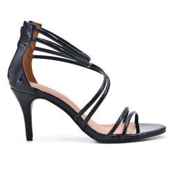 Black sandal with patent heel