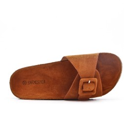 Available in 5 colors -Tong faux buckle suede