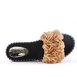 Disponible en 5 couleurs -Claquette en simili daim à fleurs