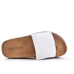 Claquette blanche en simili cuir avec plateforme