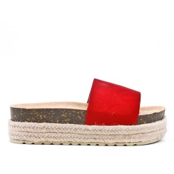Red faux suede flap with platform