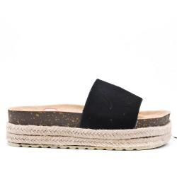 Claquette noire en simili daim avec plateforme