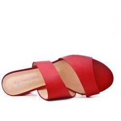 Red sling imitation leather with heel