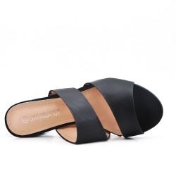 Claquette noire en simili cuir à talon