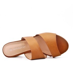 Camel slipper in imitation leather with heel