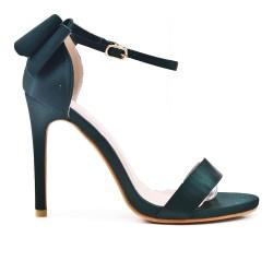 Sandale verte à talon avec nœud au dos