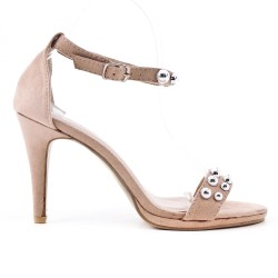 Beige faux leather buckled strap sandal