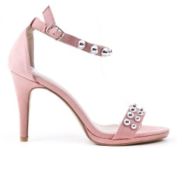 Pink faux leather buckled strap sandal