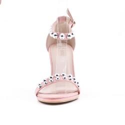 Sandale rose en simili daim à bride bouclée
