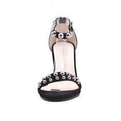 Sandale noire en simili daim à bride bouclée