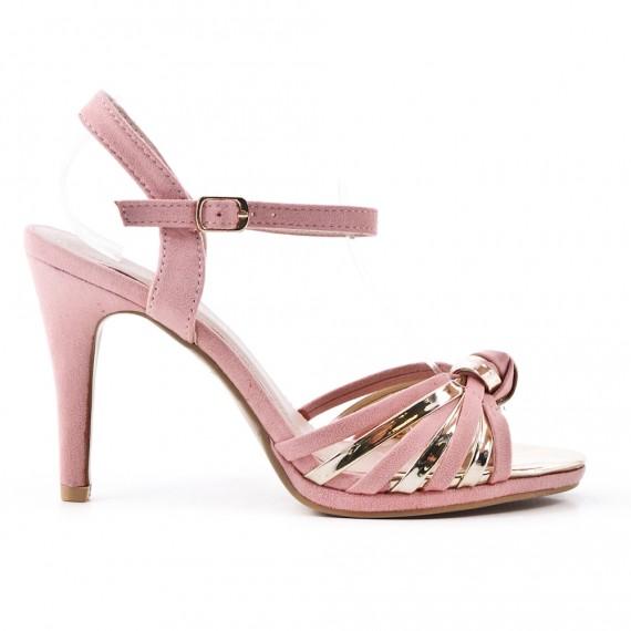 Sandalia rosa en gamuza sintética con tacón