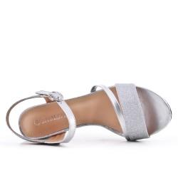Sandale argent brillant à talon haut