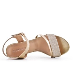Golden high heel sandal