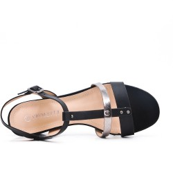 Camel flat imitation leather sandal with small square heel