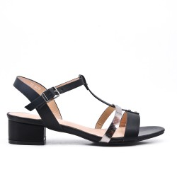 Black flat imitation leather sandal with small square heel