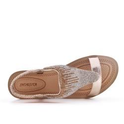 Sandalia oro con pedreria