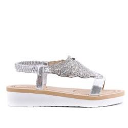 Sandalia plata con pedreria