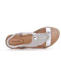 Sandale argent ornée de strass