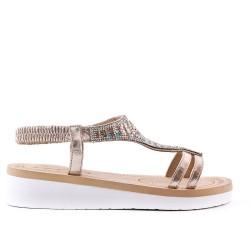 Sandale dorée ornée de strass