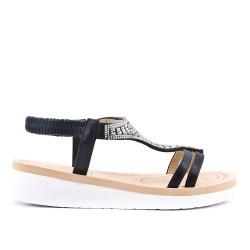 Sandalia negra con pedreria
