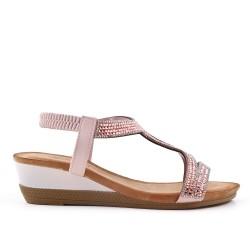 Sandalia rosa con strass y cuña pequeña