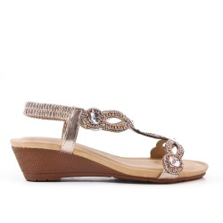 Golden sandal with rhinestones and small wedge