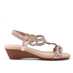 Champagne sandal with rhinestones and small wedge