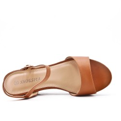Camel flat imitation leather sandal with small wedge