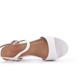 Sandalia de piel sintética plana blanco con cuña pequeña