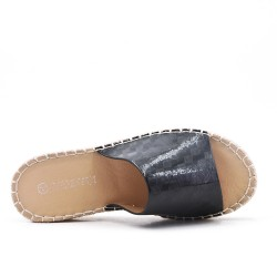 Mule noire en simili cuir