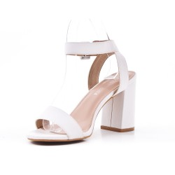 White imitation leather sandal with heel