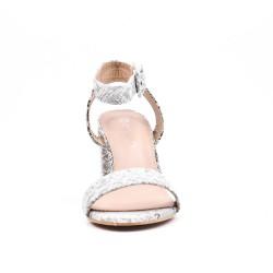 Sandale en simili cuir imprimé serpent à talon haut