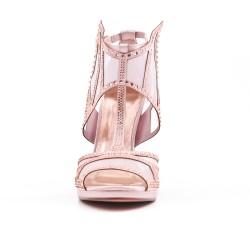 Sandale rose ornée de strass à talon haut