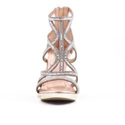 Sandale dorée à talon orné de strass
