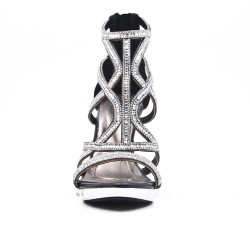 Sandale noire à talon orné de strass