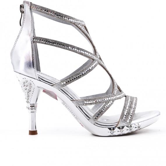 Sandalia de plata con tacones adornados con strass
