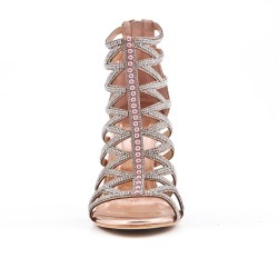 Champagne sandal with high heel rhinestones