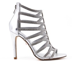 Silver sandal with high heel rhinestones